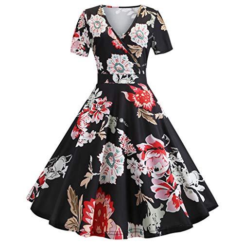 Big Sale,YetouWomens Dresses 1950s Vintage Cap Sleeve Polka Dot Rockabilly Cocktail Swing Dresses Black