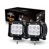 "Auxbeam 2Pcs 4"" LED Light Bar 18W CREE LED Pod Flood Beam 60 degree Waterproof for Off-road Truck Car ATV SUV Jeep Boat 4WD ATV Driving Lamp"