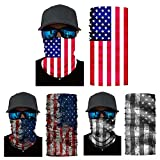 FoxAdorable Face Shields American 3PCS,American Flag Bandana,Seamless Face Mask,Neck Gait,Balaclava,Headband,Neck Scarf UV Protection for Cycling Running Hiking Fishing