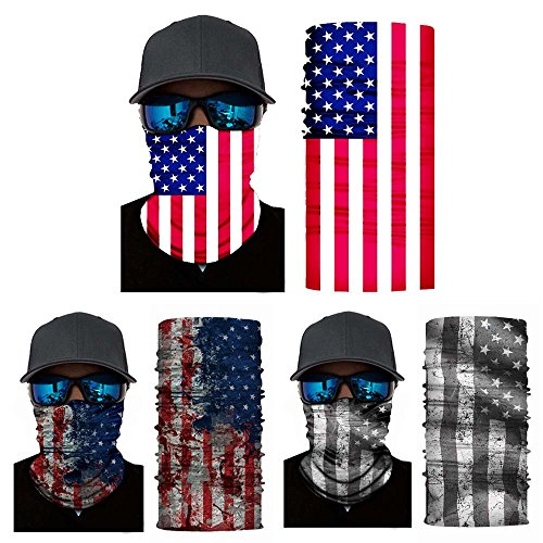 FoxAdorable Face Shields American 3PCS,American Flag Bandana,Seamless Face Mask,Neck Gait,Balaclava,Headband,Neck Scarf UV Protection for Cycling Running Hiking Fishing by FoxAdorable