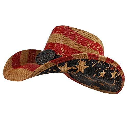 Armycrew American Flag Western Toyo Cowboy Hat with Eagle Badge - USA -