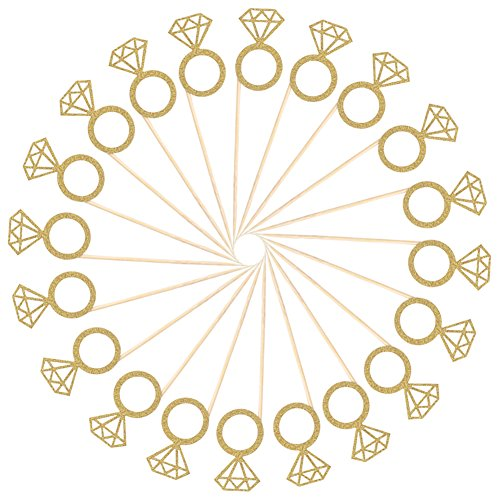 HAZOULEN Gold Glitter Diamond Rings Cupcake Toppers Attached