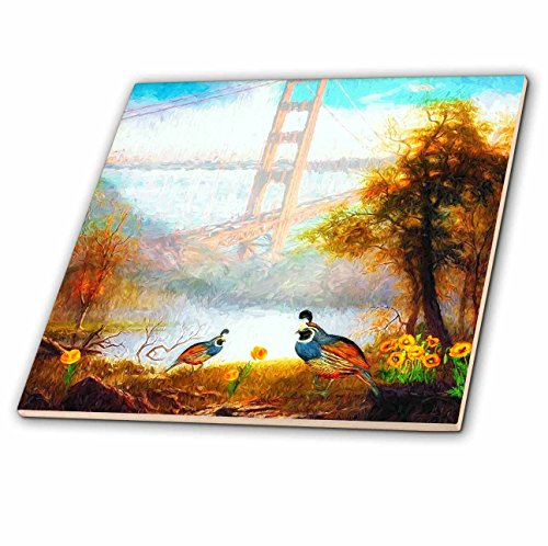 3dRose California Quail with Poppies and Golden Gate Bridge State Theme Tile, 6 x 6