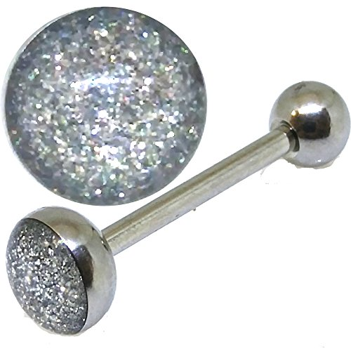 14g Thickness 16mm Coated Glitter Tongue Ring Surgical Steel Barbell TB3 (Logo Tongue Barbell)