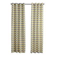 "ChezMax Grommet Horizontal Striped Pattern Window Treatment Drape Panel Fabric Sheer Curtain Panel 52"" W x 84"" L Yellow"