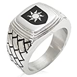 Two-Tone Stainless Steel Sun Splendor Coat of Arms Shield Engraved Geometric Pattern Step-Down Biker Style Polished Ring, Size 9