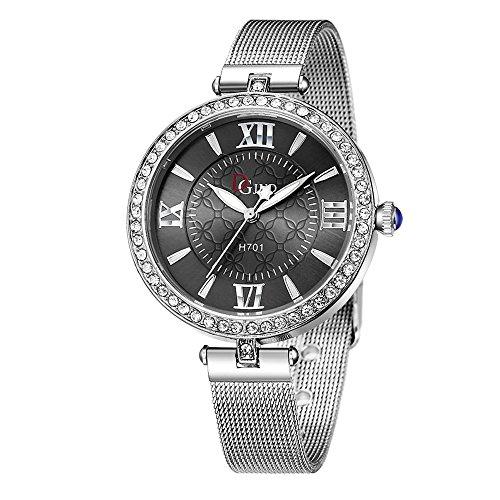Womens Quartz Watches COOKI Ladies Fashion Minimalist Casual Quartz Analog Diamond Wristwatch Round Diamond Dial Stainless Steel Mesh Band X5 (Gray)
