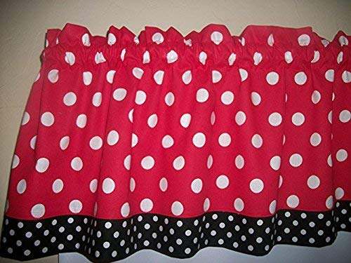 Red Black Polka Dot Mickey Minnie Mouse Retro Kitchen bedroom fabric Decor  window treatment curtain topper Valance
