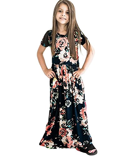 JYH Girl's Floral Flared Long Maxi Dress Short Sleeves Casual Floor Length Elegant Cute Dresses with Pockets (Dress In Sleeve Black Empire Short)