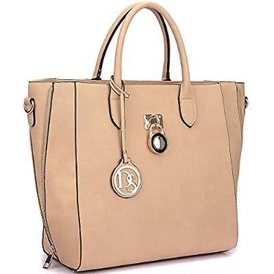Dasein Women's Top Handle Structured Padlock Tote Bag Satchel Handbag Shoulder Bag With Shoulder Strap