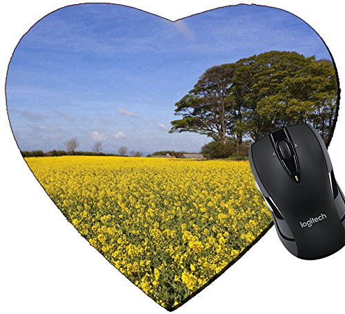 MSD Mousepad Heart Shaped Mouse Pads/Mat design 20017214 a grove of trees growing on an ancient prehistoric burial mound surrounded by golden canola flowers under a hazy blue spr (Flower 1 Mound 2 Tree)