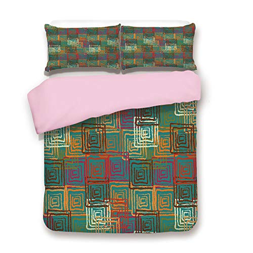 Comforter Square Union (Pink Duvet Cover Set,Twin Size,Abstract Grunge Pattern with Folk Rainbow Ornament Squares Distressed Backdrop,Decorative 3 Piece Bedding Set with 2 Pillow Sham,Best Gift For Girls Women,Multicolor)