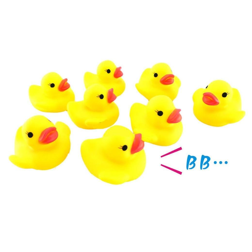 Sagton 10PC Duck Squishy Toy, Cute Squeezing Call Rubber Ducky Duckie for Baby Shower Birthday
