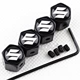 CHAMPLED NEW (4PC) SUZUKI LOGO METAL BLACK ANTI-THEFT WHEEL TIRE AIR VALVE STEM CAPS DUST COVER