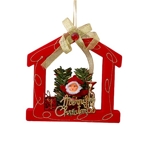 TraveT Christmas Xmas Santa Five Pointed Star House Tree Ornaments Hanging Pendant Gift
