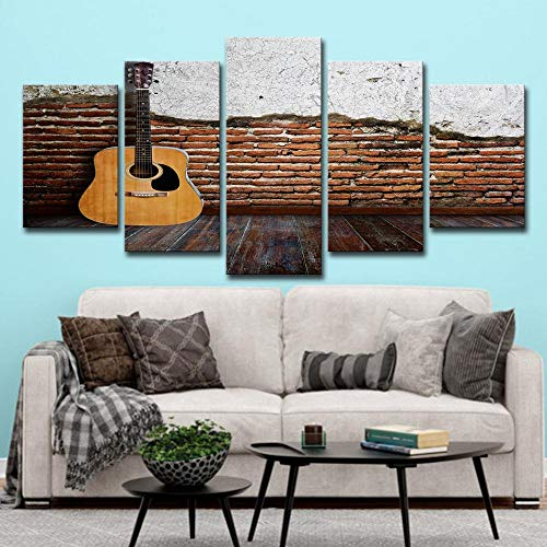 SCLWFJ Wulian Painting Canvas Art Painting Classical Guitar Antique for Living Room Wall Decoration ()