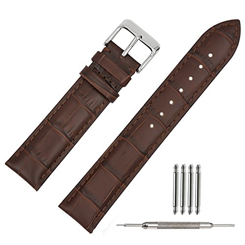 TStrap 18mm Leather Watch Band Brown Soft w/ Watch Clasp Buckle Watch Strap Bracelet Replacement