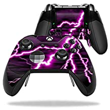 MightySkins Protective Vinyl Skin Decal for Microsoft Xbox One Elite Wireless Controller case wrap cover sticker skins Purple Lightning