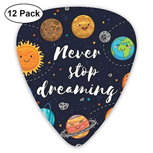 - Celluloid Guitar Picks - 12 Pack,Abstract Art Colorful Designs,Outer Space Planets And Star Cluster Solar System Moon And Comets Sun Cosmos Illustration,For Bass Electric & Acoustic Guitars.