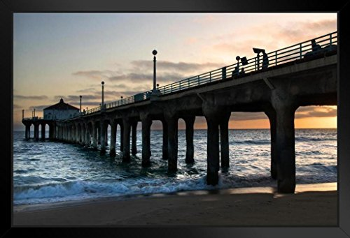 Manhattan Beach California Pier Photo Art Print Framed Poster 18x12 by - Beach Manhattan California Usa