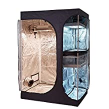 "BloomGrow 48""x36""x72"" 2-in-1 Hydroponic Indoor Grow Tent Room Propagation High Reflective 600D Diamond Mylar Growing Plant w/Metal Corner (48""X36""X72""(2-in-1) Lodge Propagation Tent)"