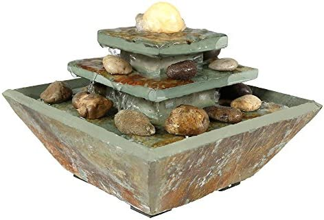 Sunnydaze 8-Inch Ascending Slate Tiered Waterfall Fountain – Built-in LED Light Provides Ambient Lighting – Perfect Size for Desktop or Bedroom – Indoor Relaxation – Electric Square Water Feature
