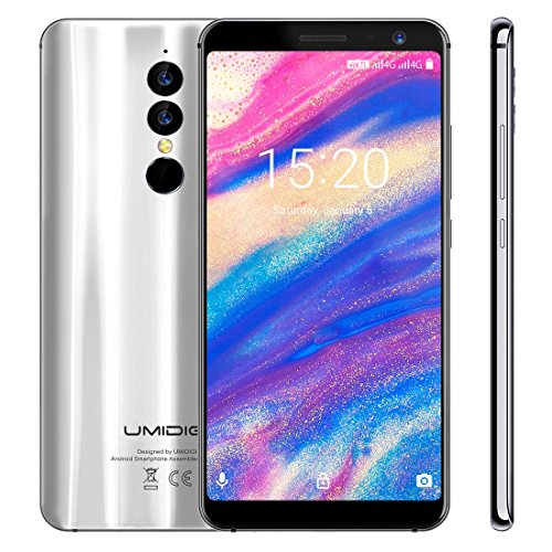 Price comparison product image UMIDIGI A1 Pro Unlocked Cell Phones Dual 4G 3GB+16GB Dual Back Cameras Face & Fingerprint Identification 5.5 inch Android 8.1 MTK6739 Quad Core up to 1.5GHz Dual SIM (Silver)