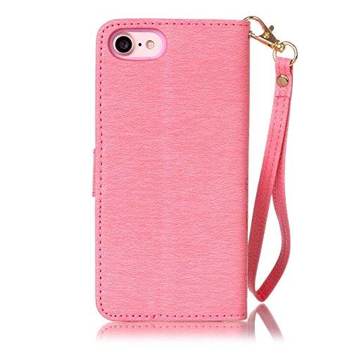 inShang iPhone 7 Plus Funda Soporte y Carcasa para Apple iPhone7 Plus 5.5 inch,funda con suporte funzione, con construir-en cartera , Wallet design with card slot pink