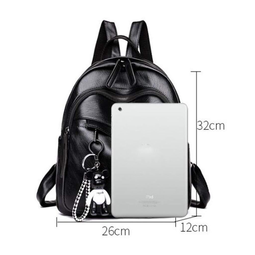 Color : Black, Size : 261332cm KJVHJN Women Backpack Purse PU Washed Leather Convertible Ladies Rucksack Crossbody Shoulder Bag College School Bag