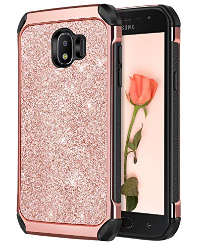 J2 Pro 2018 Case, Galaxy Grand Prime Pro Case, DUEDUE Dual Layer Slim Hybrid Hard PC Bling Shiny Faux Leather with Soft TPU Bumper Protective Phone Case for Samsung Galaxy J2 Pro 2018,Rose Gold