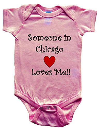 SOMEONE IN CHICAGO LOVES ME - City Series - BigBoyMusic Baby Designs - Pink Baby One Piece Bodysuit - size Small - Chicago St Michigan