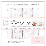 SwaddleDesigns Cotton Muslin Swaddle Blankets, Set of 4, Pastel Pink Elephant Dreams