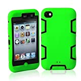 Topforcity Rugged Hybrid Rubber Shockproof Protective Case for Apple iPod Touch 4 with Screen Protector(green+black)