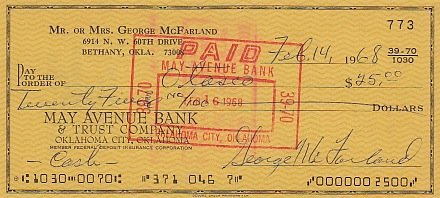 SPANKY MCFARLAND (Little Rascals) signed bank check