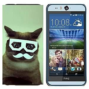 EJOOY---Cubierta de la caja de protección para la piel dura ** HTC Desire Eye M910x ** --Manillar gato siamés vidrios divertidos
