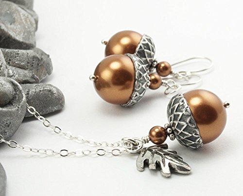 Charm Simulated Pearl (Acorn Jewelry Set with Oak Leaf Charm. Copper Colored Simulated Pearls by Swarovski, 16 inches long)