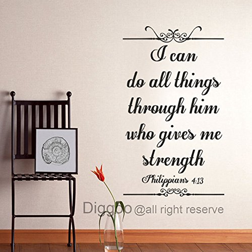 Scripture Wall Decal - I Can Do All Things Through Him Who Gives Me Strengthen Philippians 4:13 Christian Art Quote(Black,xs) (Sticky Art Wall Word)