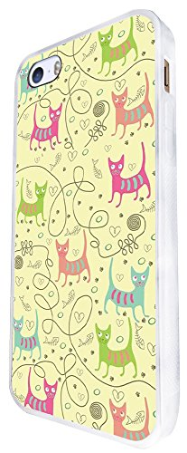 1266 - Cool Fun Trendy Cute Kitten Cat Feline Collage Wallpaper Kawaii Design iphone SE - 2016 Coque Fashion Trend Case Coque Protection Cover plastique et métal - Blanc