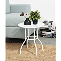 EGGREE Round End Table Sofa Bed Side Table Tea Coffee Table,Metal Anti-Rusty Umbrella Stand Nesting Table Outdoor Indoor Use for Living Room Office,White