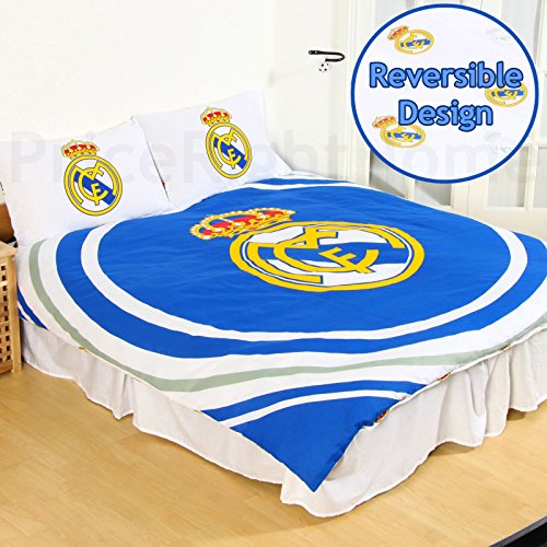 Real Madrid CF Pulse 2 Piece UK Double /US Full Sheet Set, 1 x Double Sided Sheet and 2 x Pillowcases (Cheap Bedroom Uk Sets)
