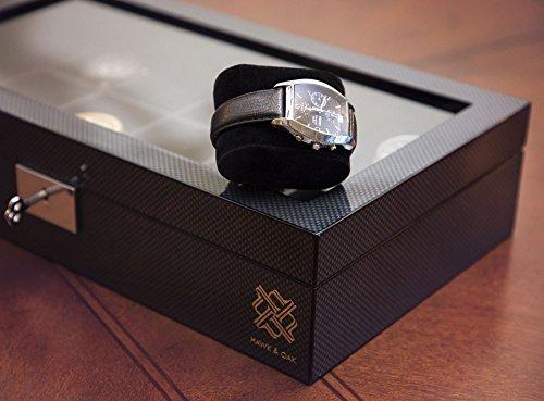 Elegant,12 Slot Watch Box Organizer with Lock   Premium Watch Display Case & Jewelry Case   Storage Cases for Watches   Spacious, Glass Lid   Carbon Fiber Design Wooden Watch Holder