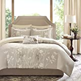 Madison Park Essentials Vaughn Twin Size Bed Comforter Set Bed in A Bag - Taupe, Floral – 7 Pieces Bedding Sets – Ultra Soft Microfiber Bedroom Comforters