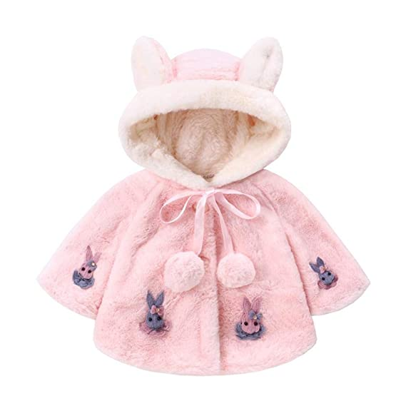 Zerototens Baby Spring Summer Coat,0-2 Years Old Toddler Infant Baby Girls Warm Coat with Cartoon Bunny Pattern Cute Girl Windbreaker Jacket Casual Parka Outwear Outfit