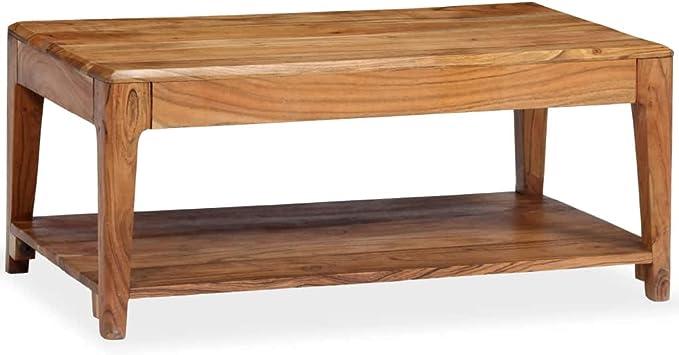 Nishore Mesa De Centro Mesa de Centro Vintage de Madera Maciza de Acacia Aspecto Elegante 88 X 50 X 38 Cm con 1 Estante
