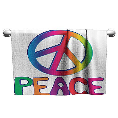 DUCKIL Cute Hand Towels 1960s Decorations Collection Peace Text with Peace Sign Type Line Love Political Hippie Groovy Artistic Clipart Image Printed Bath Sheet 23 x 8 inch Pink Blue ()