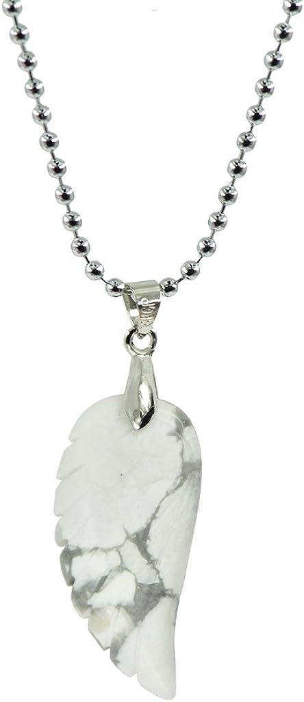 F Fityle Piedras Preciosas Naturales Talladas A Mano Patrón De ala De ángel Colgante Collar para Mujeres Hombres, Ser Querido