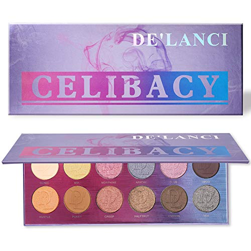 DE'LANCI Eyeshadow Palette, 12 Natural Colors Nude Highly Pigmented Creamy Professional Nude Powder Make Up Kit Waterproof Eye Shadow Pallet High-end Formula (Smokey)