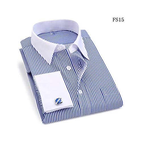 XJLE Shirts Striped Men Cufflinks Long Sleeved White Collar Wedding Tuxedo Work(,FS15 Blue,Asian-size-5XL) ()