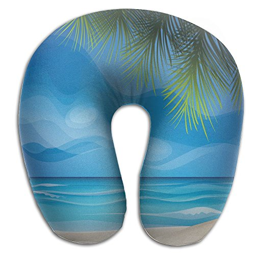 SARA NELL Memory Foam Neck Pillow Hawaii Tropic Island Beach Landscape U-Shape Travel Pillow Ergonomic Contoured Design Washable Cover For Airplane Train Car Bus Office by SARA NELL