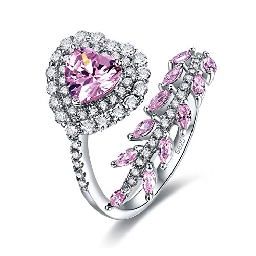 Zetaur Women's 925 Sterling Silver Created Pink Topaz Eternity Heart Cut Halo Cubic Zirconia Leaf Vine Adjustable Ring for Birthday Proposal Gift Bridal Engagement - Pink Zirconia Leaf Cubic